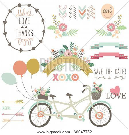 Wedding Flora Vintage Bicycles Elements- illustration