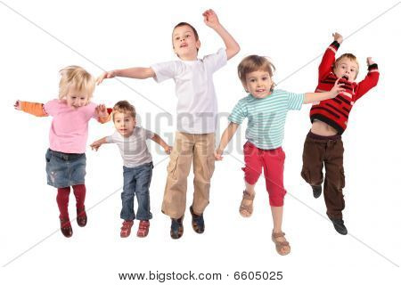 Many jumping children on a white background poster