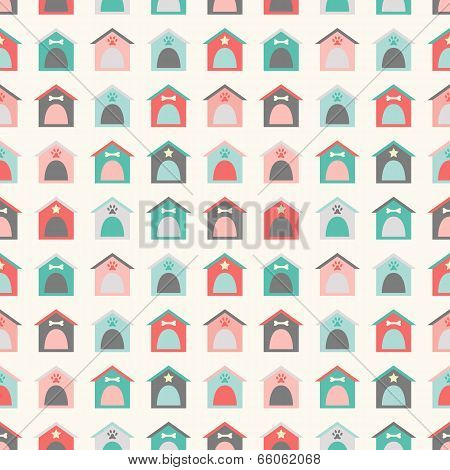 Animal seamless vector pattern of kennel