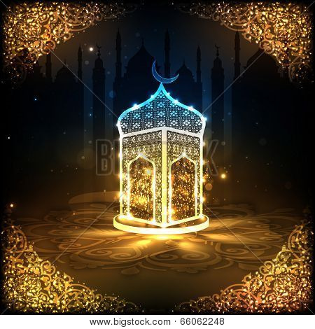 View of a shiny mosque in night background on beautiful golden floral design decorated frame for holy month of muslim community Ramadan Kareem.