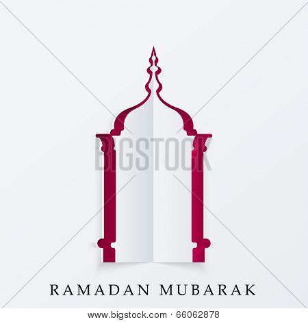 Fold paper cut-out design in a mosque shape for holy month of muslim community Ramadan Kareem.