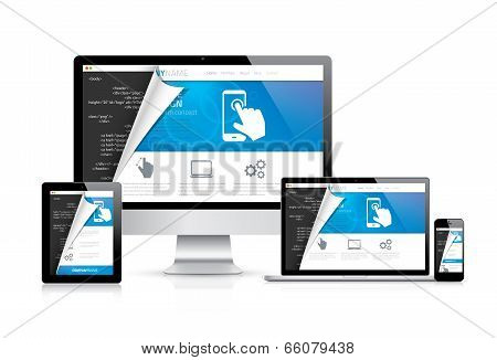 Internet web coding development with modern flat cool design. Vector illustration EPS10.