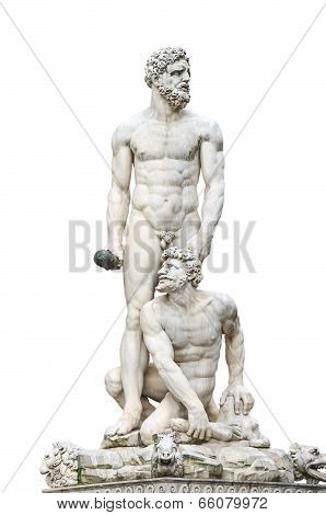 Statue Hercules And Cacus Front Of The Museum Palazzo Vecchio  . Florence, Italy