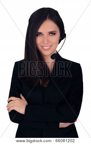 Beautiful young woman call center operator with headset and black blazer smiling poster