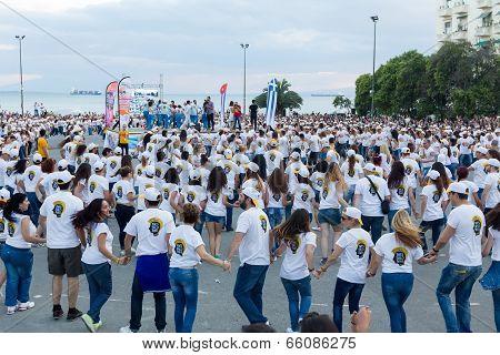 Rueda De Casino Flash Mob, Particular Type Of Salsa Held In Thessaloniki In Order To Break The Guinn