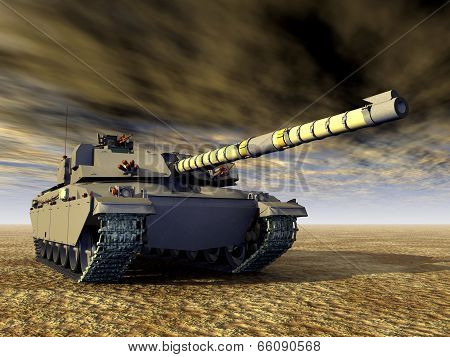 Computer generated 3D illustration with the British Main Battle Tank Challenger poster