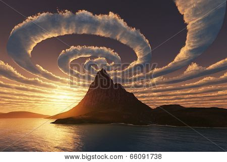 Spiral clouds over mountain peak