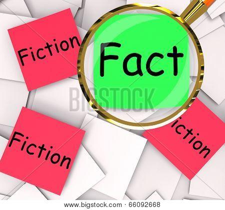 Fact Fiction Post-it Papers Show Factual Or Untrue