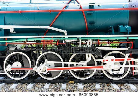 Wheels And Connecting Rod Of Old Steam Locomotive On Railway
