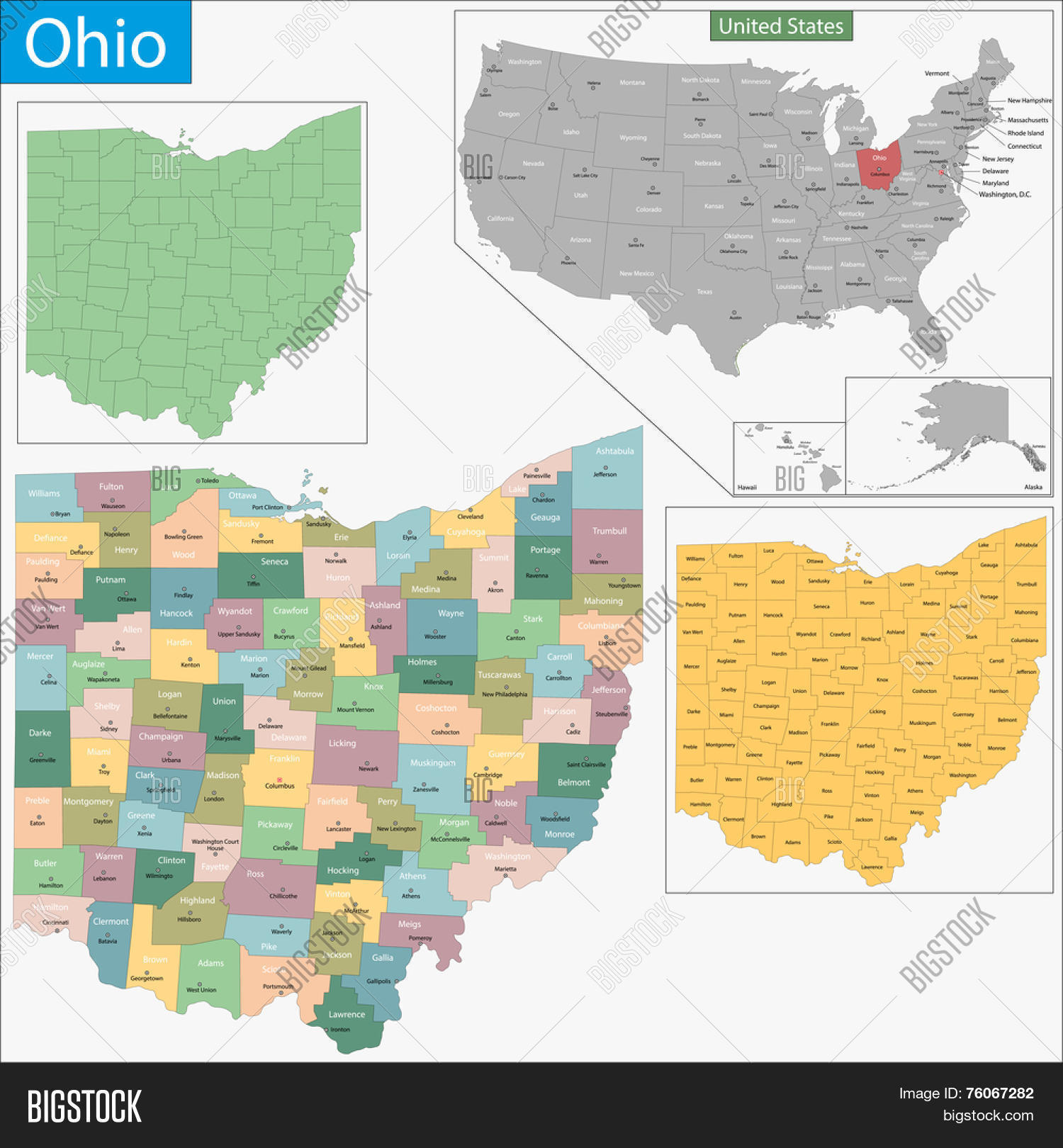 Map Ohio State Vector & Photo (Free Trial) | Bigstock