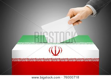 Voting Concept - Ballot Box Painted Into National Flag Colors - Iran