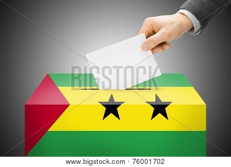 Voting Concept - Ballot Box Painted Into National Flag Colors - Sao Tome And Principe