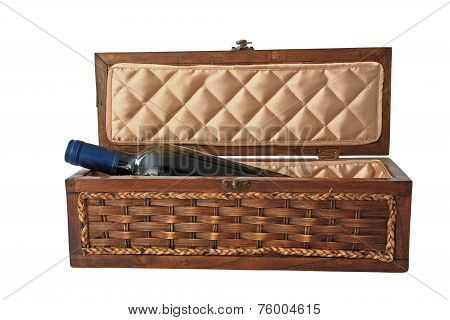 Liquor Or Alcohol In Wooden Container Isolated On White