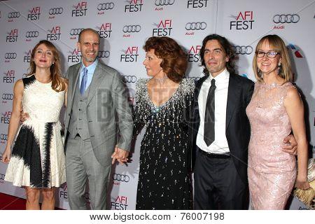 LOS ANGELES - NOV 12: S Alexander, Edoardo Ponti, Sophia Loren, Carlo Ponti, Andrea M Ponti at the Tribute to Sophia Loren at AFI Film Fest at the Dolby Theater on November 12, 2014 in Los Angeles, CA