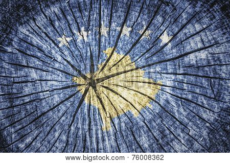 flag of Kosovo on cracked wooden texture poster