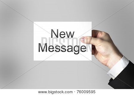 Hand Holding White Card New Message