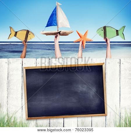 Empty Black Board on White Fence with Hands Holding Objects