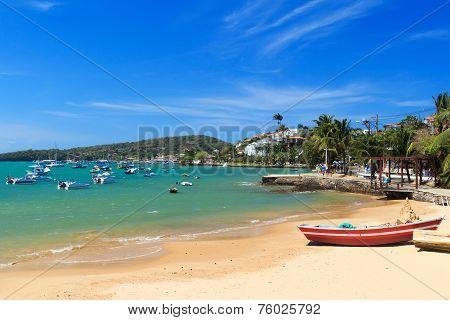 Beach Armacao Dos Buzios Sea Boats, Rio De Janeiro, Brazil