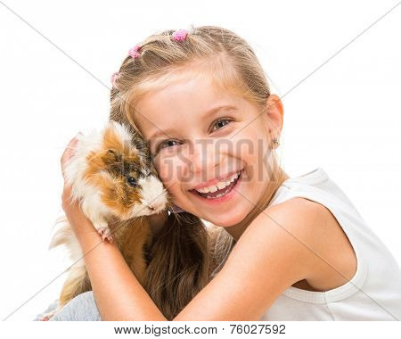 happy  girl with a cavy. studio shot isolated on white