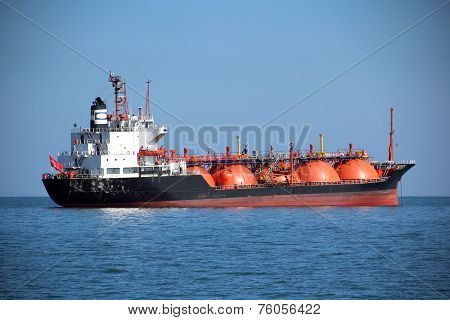 fuel tanker in the sea - anchored poster
