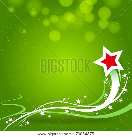 red star with trail and green background