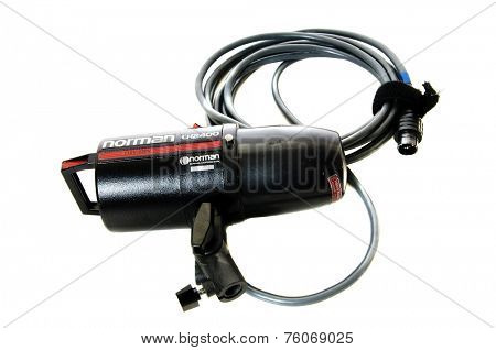 Hayward, Ca - 23 October, 2014: Norman model LH 2400 strobe head with protective cover