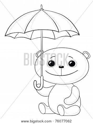 Toy teddy bear sitting  under the umbrella, contours poster