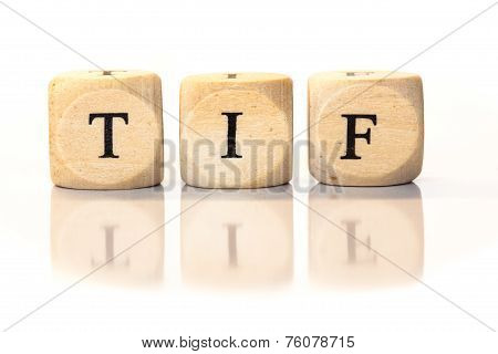 Tif Spelled Word, Dice Letters With Reflection