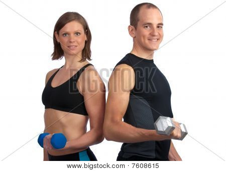 Young Couple With Dumbells