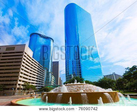 Bob and Vivian Smith fountain in Houston downtown Texas US poster