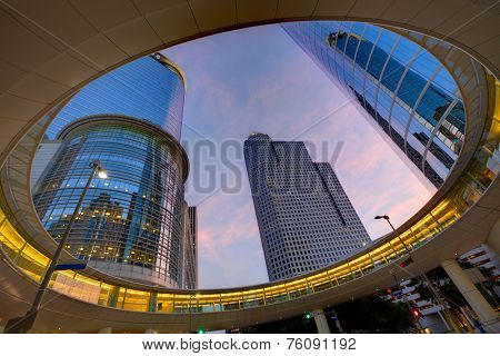 Houston Downtown sunset modern skyscrapers at Texas US USA