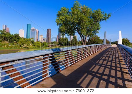 Houston skyline from Memorial park at Texas USA US