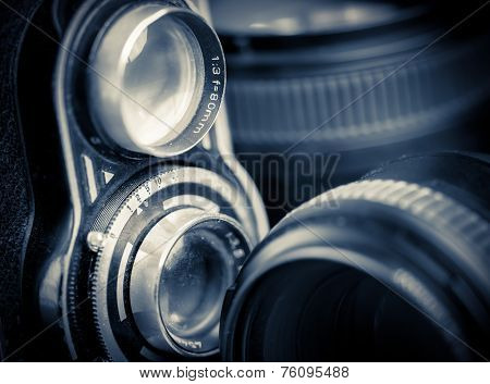 Vintage twin reflex camera and lenses
