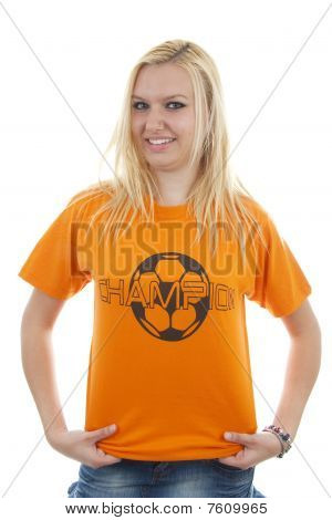 portrait of Dutch soccer fan in orange outfit over white background poster