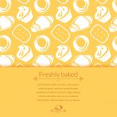 Vector illustration  delicious pastries, cookies, croissants, biscuits in outline doodle style, background with place for text poster
