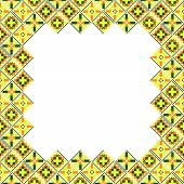 Seamless geometric ethnic yellow and brown patchwork frame poster