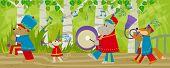 Forest animals with marching band uniform and musical instruments are marching in the forest. Eps10 poster