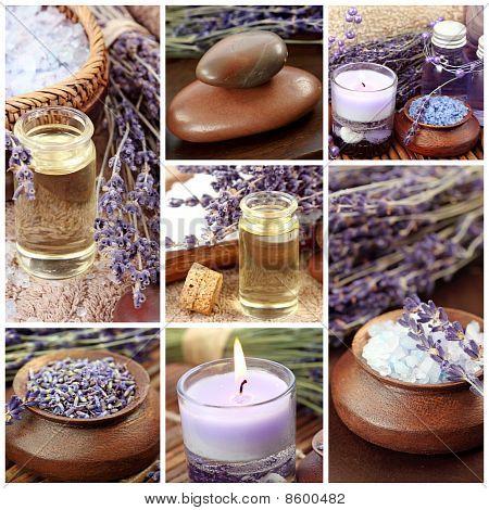 Lavender spa collage