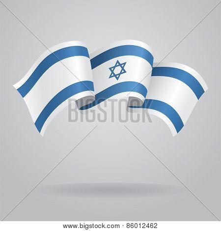 Israeli waving Flag. Vector illustration