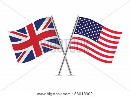 British and American flags. Vector illustration.