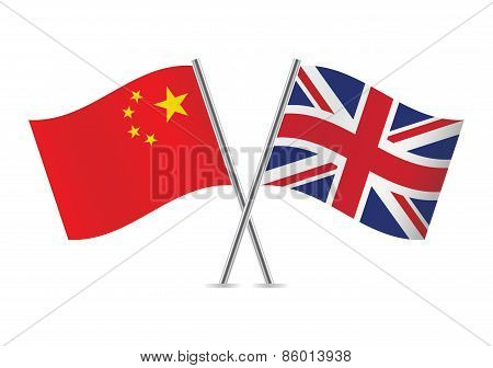 Chinese and British flags. Vector illustration.