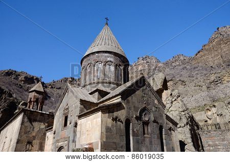 Geghard Or Ayrivank Medieval Monastery Surrounded By Cliffs,kotayk Province,armenia, Unesco Heritage