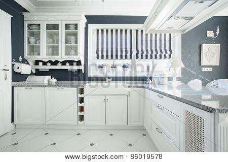 Interior Of White And Grey Kitchen
