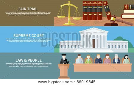 Man in court. Lawyer icons concept. Fair trial. Supreme court. Law and people. Concept in flat design style. Can be used for web banners, marketing and promotional materials, presentation templates poster