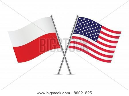 Polish and American flags. Vector illustration.
