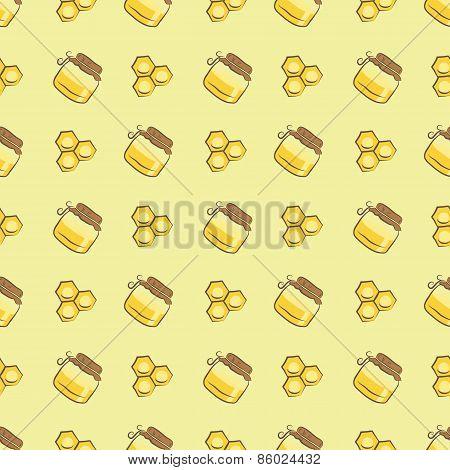 honeycomb and honey jar pattern
