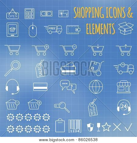 Shopping icon set. On bllue background. Outline. Can be use as elements in infographics, as web and