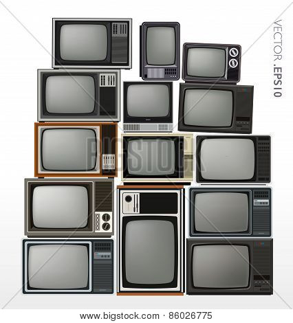 Set of illustrated old televisions