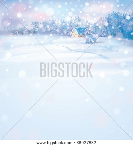 Vector winter scene with house and forest.