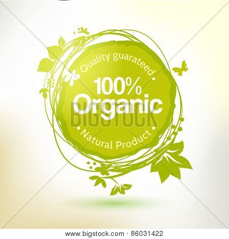 Green hand drawing label for organic product